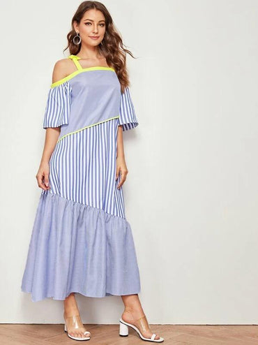 Striped Ruffle Hem Cold Shoulder Slip Dress