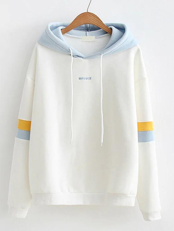 Striped Sleeve Contrast Hooded Sweatshirt