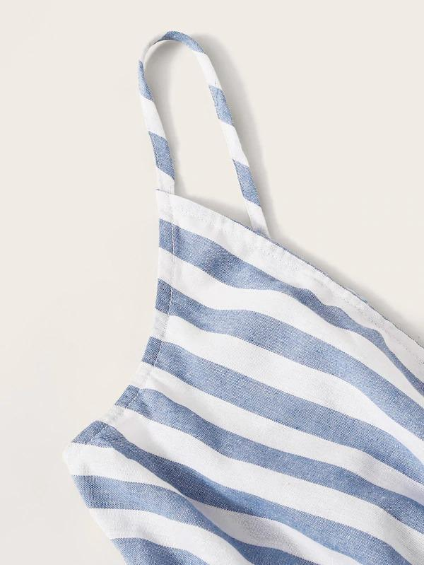 Striped Surplice Neck Belted Slip Dress