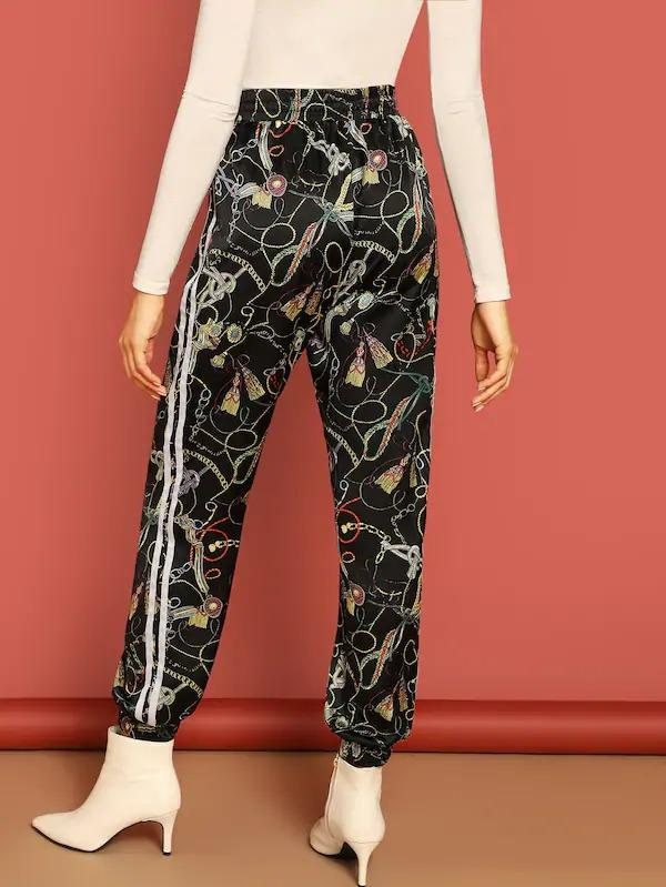 Striped Tape Side Chain Print Tapered Pants