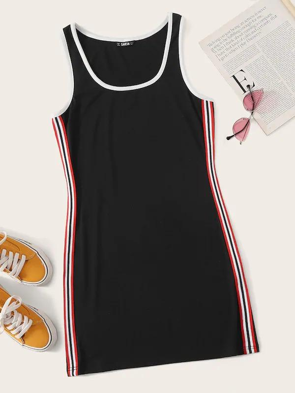 Striped Tape Side Ringer Tank Dress