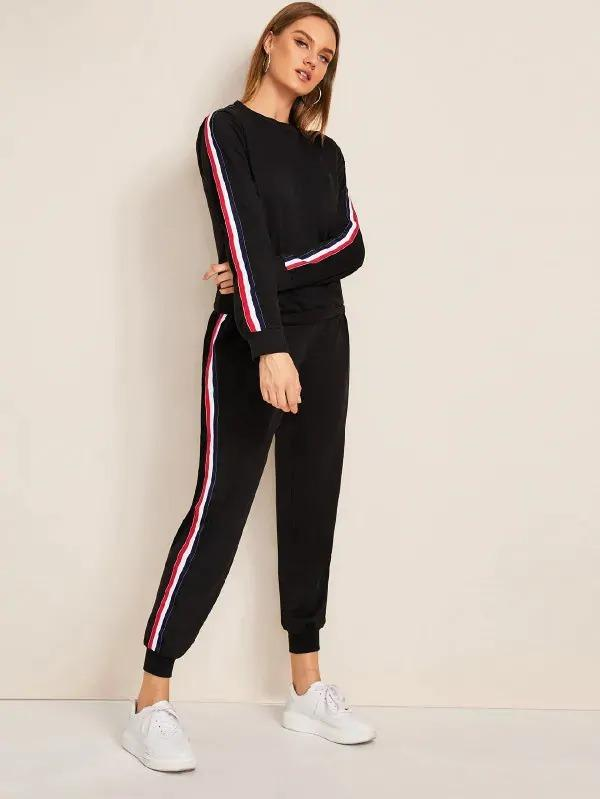 Striped Tape Side Sweatshirt With Sweatpants