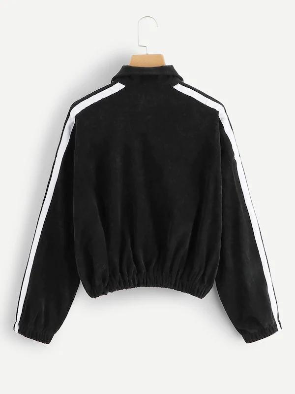 Striped Tape Sleeve Corduroy Sweatshirt