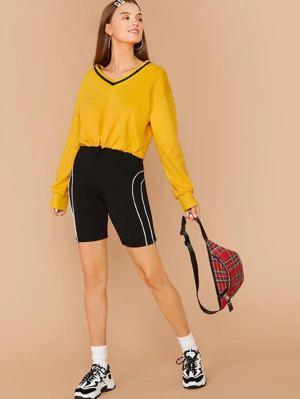 Striped V-Neck Drawstring Hem Pullover