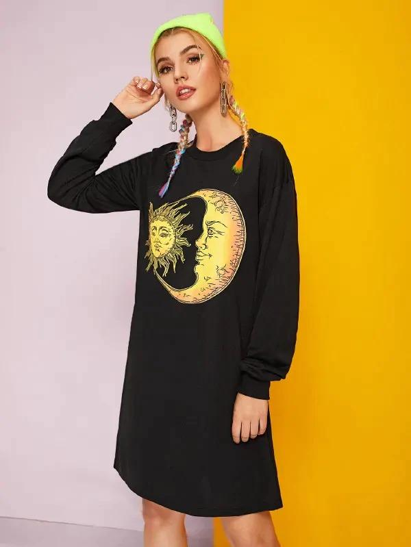 Sun & Moon Print Sweatshirt Dress