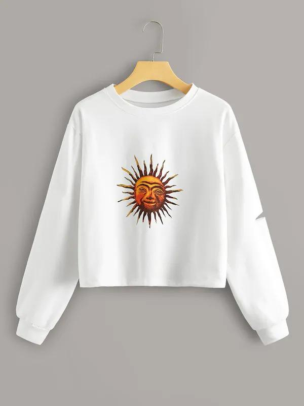 Sun Print Ripped Drop Shoulder Sweatshirt