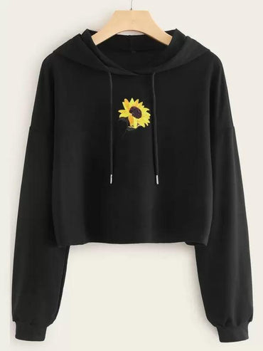 Sunflower Embroidery Drawstring Crop Hoodie