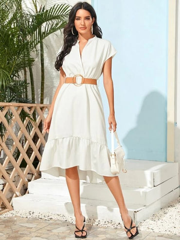 Women Surplice Front Self Tie Ruffle Hem Dress