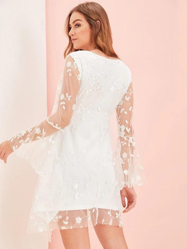 Surplice Neck Embroidered Mesh Overlay Dress