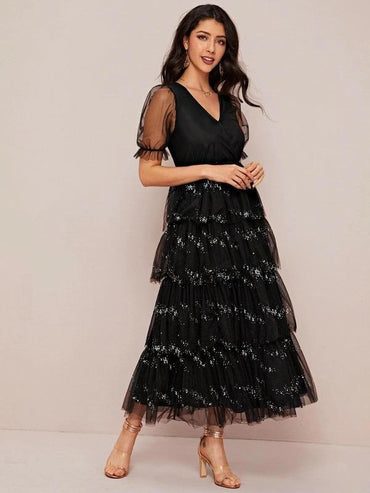 Surplice Neck Puff Sleeve Tiered Layered Sequin Mesh Dress