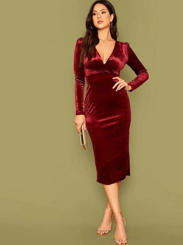 Surplice Neck Velvet Bodycon Dress
