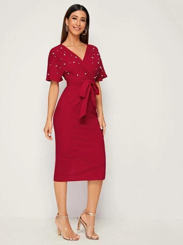 Surplice Wrap Belted Pearls Beaded Dress