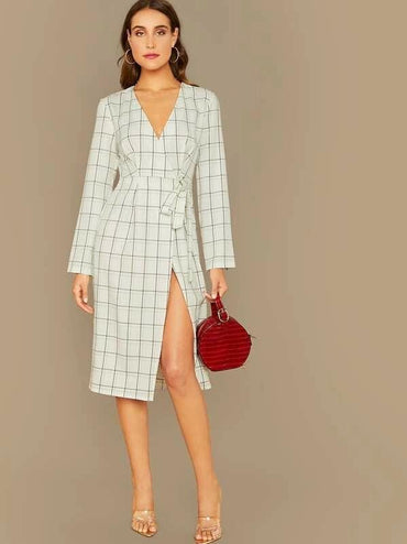 Surplice Wrap Knot Side Plaid Dress