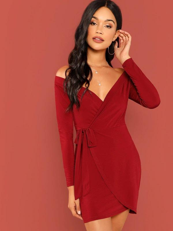 Surplice Wrap Self Tie Bardot Dress