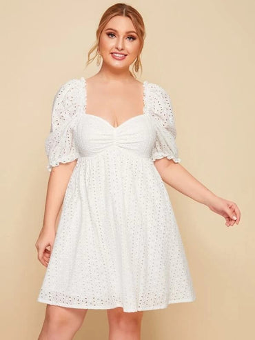 Women Plus Size Sweetheart Neck Solid Schiffy Dress