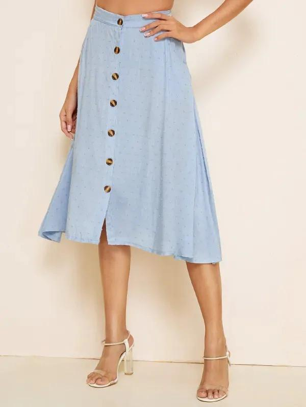 Swiss Dot Button Front Solid Skirt