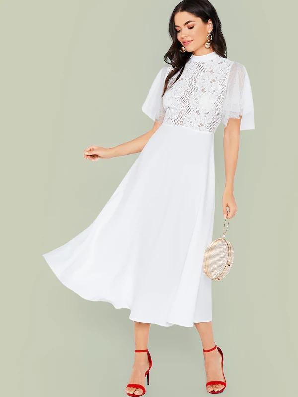 Swiss Dot Mesh Sleeve Lace Bodice Dress