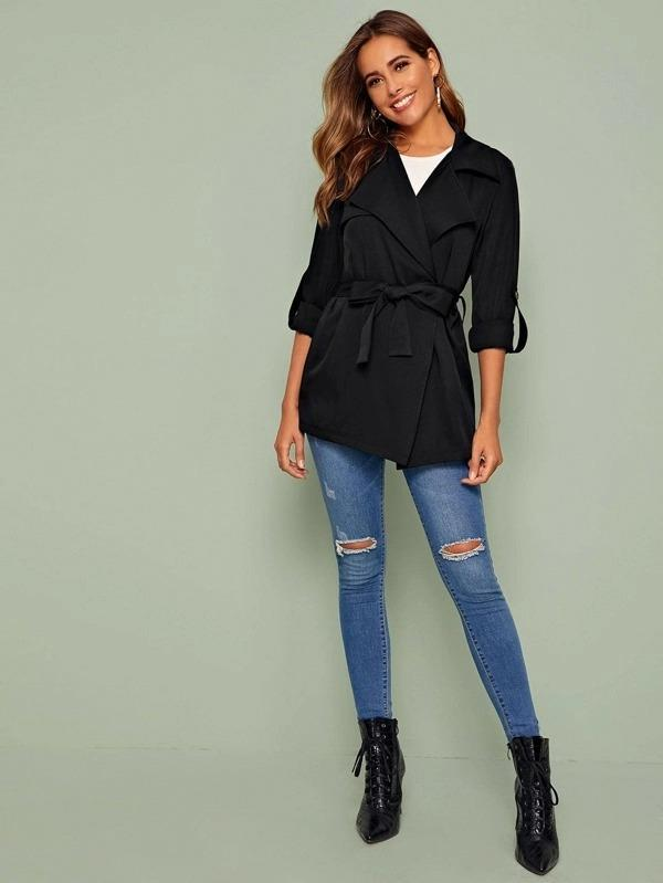 Tab Sleeve Double Button Belted Coat