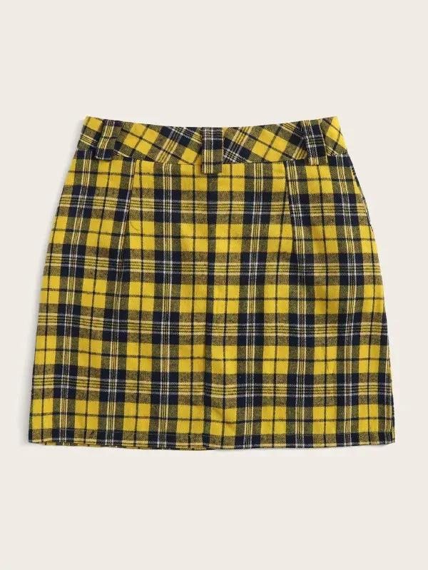 Tartan Print Button Fly Pencil Skirt