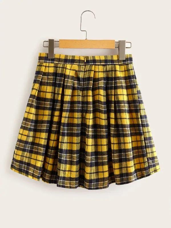 Tartan Print Zip Back Flare Skirt