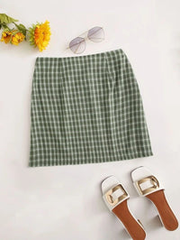 Women Tartan Plaid Mini Skirt