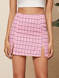 Women Tartan Print Split Hem Mini Skirt