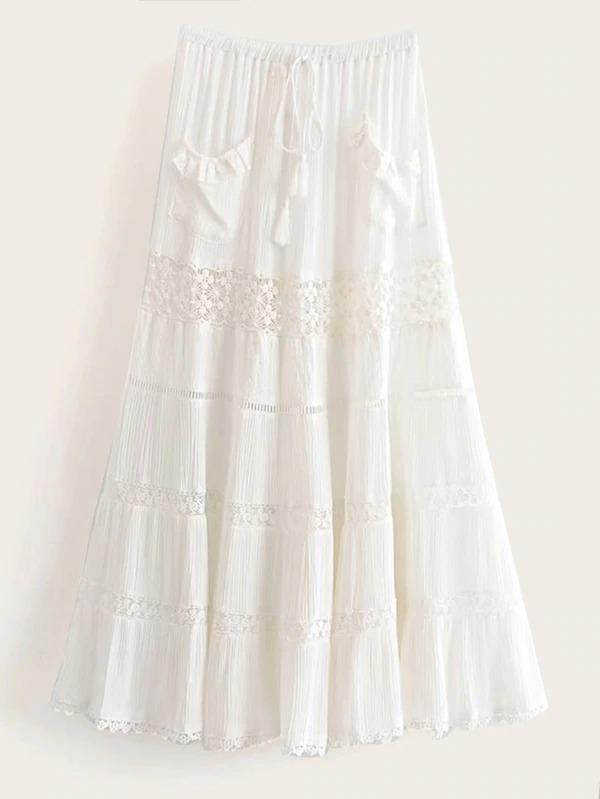 Tassel Tie Lace Panel Skirt