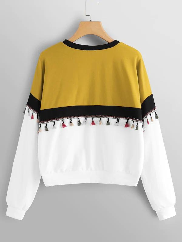 Tassel Patched Color-Block Pullover