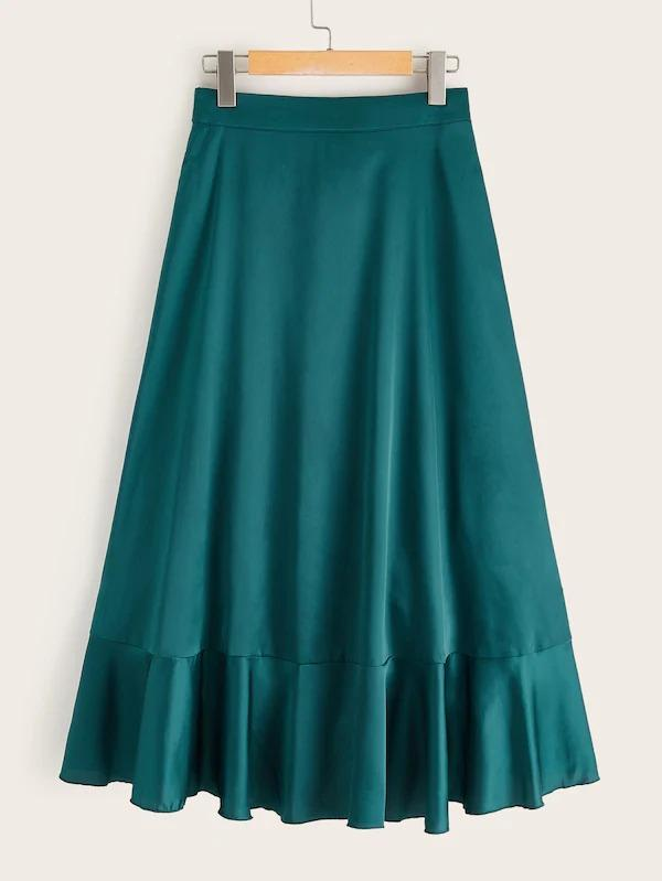 Tie Back Wrap Ruffle Hem Satin Skirt