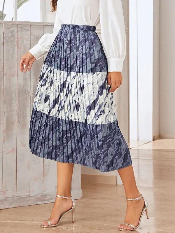 Tie Dye Elastic Waist Pleated Skirt