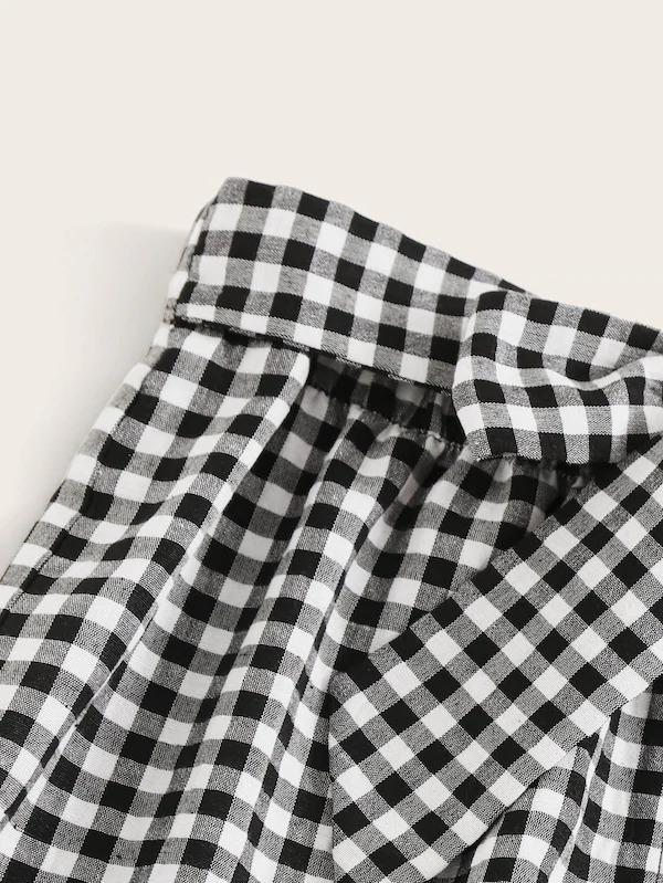 Tie Waist Button Up Gingham Skirt