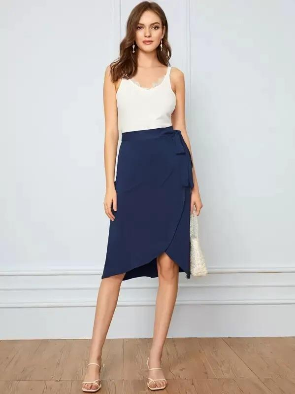 Tie Waist Wrap Solid Skirt
