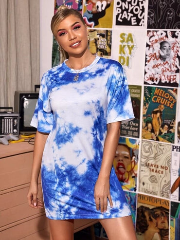 Women Tie Dye Drop Shoulder Tee Dress