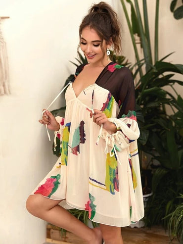 Women Tie Dye Knot Front Lantern Sleeve Babydoll Dress