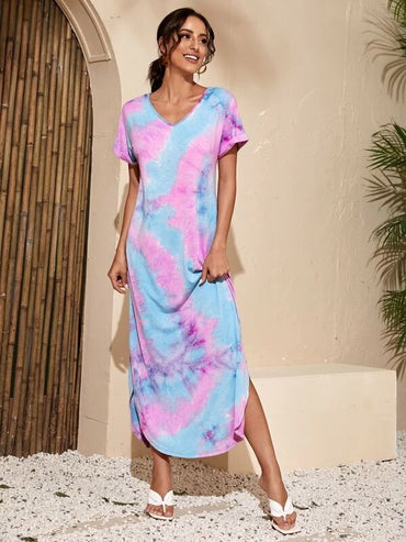 Women Tie Dye Side Split Tee Dress