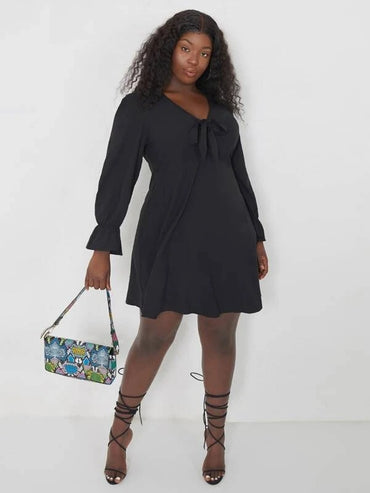 Women Plus Size Tie Front Flounce Sleeve Dress