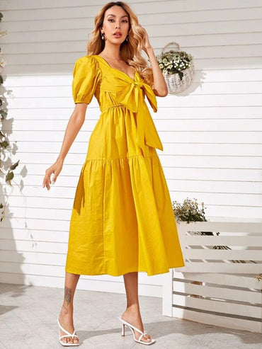 Women Tie Front Puff Sleeve Dress