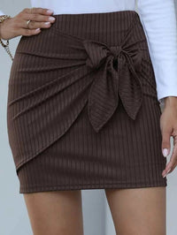 Women Tie Front Rib-knit Mini Skirt