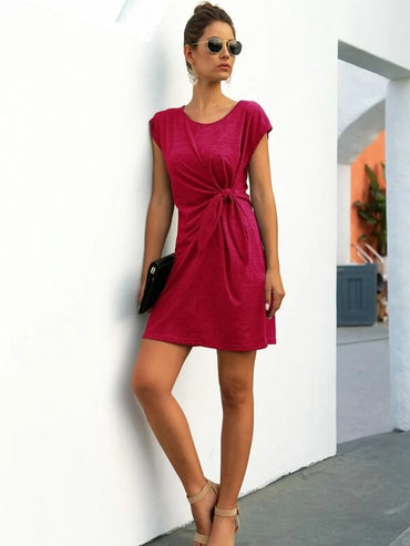 Women Tie Front Solid Tee Dress