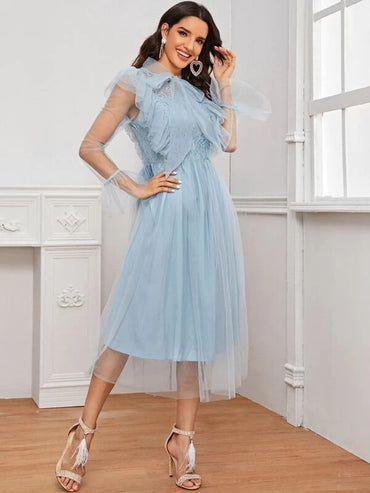 Women Tie Neck Ruffle Trim Lace Bodice Mesh Dress