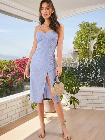 Women Tie Shoulder Shirred Back Split Thigh Gingham Dress