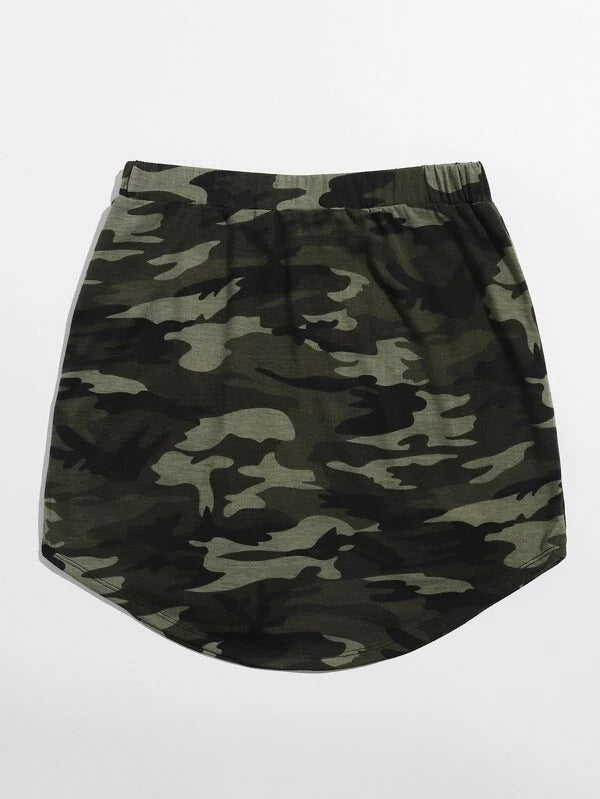Women Tie Waist Curved Hem Camo Skirt