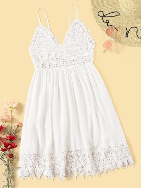 Tie Back Crochet Bodice Lace Hem Flare Slip Dress