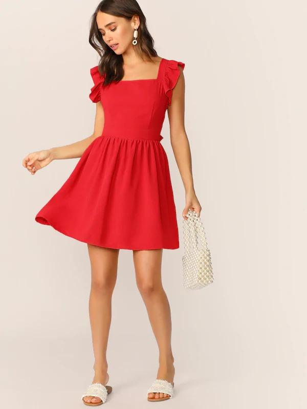 Tie Back Ruffle Trim Dress