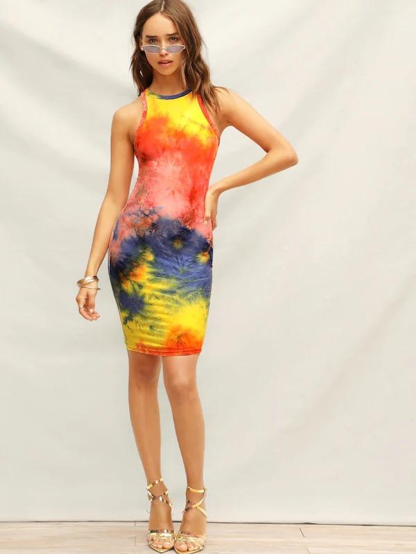 Tie Dye Bodycon Tank Dress
