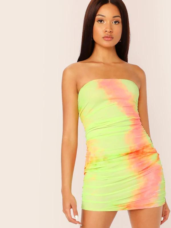 Tie Dye Ruched Tube Bodycon Dress