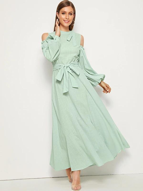 Tie Neck Cold Shoulder Lantern Sleeve Belted Dress