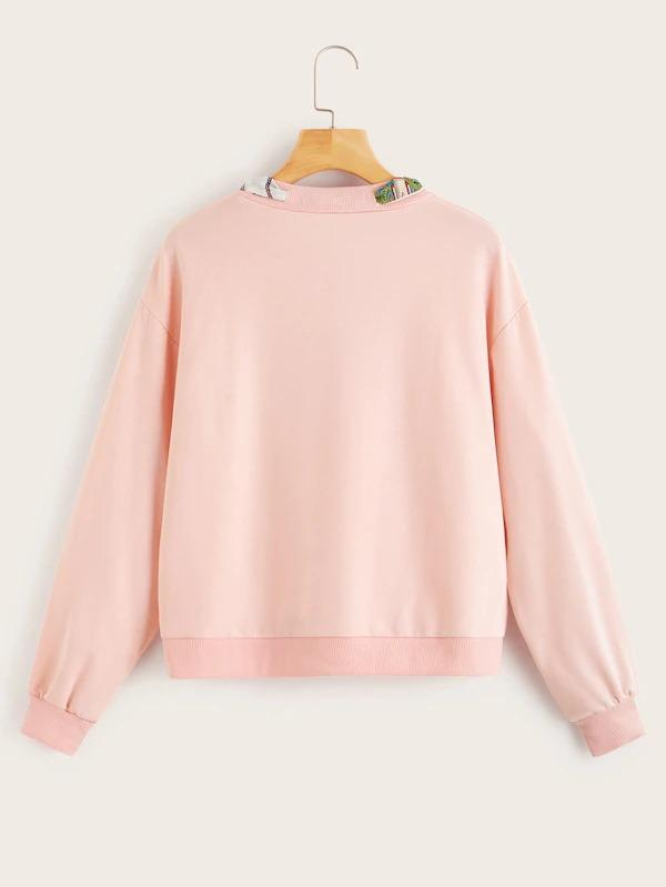 Tie Neck Drop Shoulder Sweatshirt