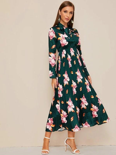 Tie Neck Floral Print Pleated Dress