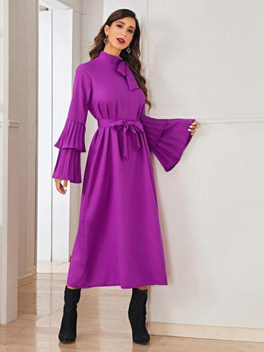 Tie Neck Flounce Sleeve Pleated Cuff Dress